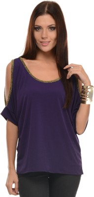Mayra Casual Short Sleeve Solid Women Purple Top at flipkart