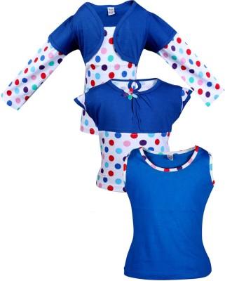Gkidz Casual Cotton Top(Dark Blue, Pack of 3)