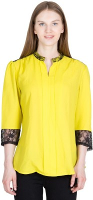 Global Elle Casual 3/4th Sleeve Solid Women's Yellow Top