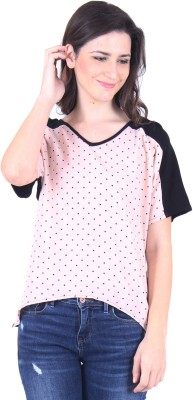 Vvoguish Casual Short Sleeve Printed Women Black, Pink Top