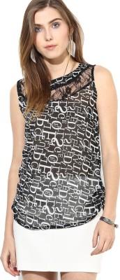 MAYRA Party Sleeveless Printed Women Black Top MAYRA Women's Tops