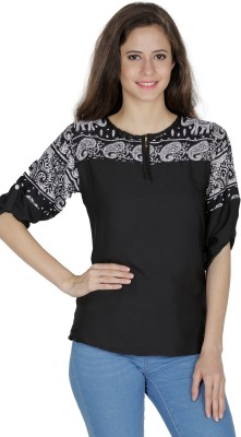 MAYRA Party Roll up Sleeve Solid Women Black Top MAYRA Women's Tops