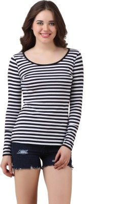 Texco Casual Full Sleeve Striped Women Black, White Top