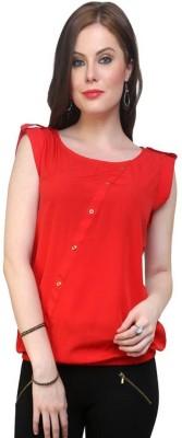 Pannkh Casual Cap Sleeve Solid Women Red Top at flipkart