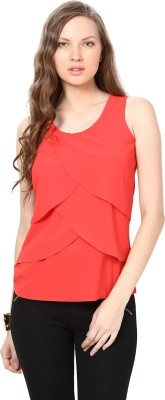 Harpa Casual Sleeveless Solid Women Orange Top at flipkart