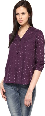 Harpa Casual 3/4 Sleeve Printed Women Purple Top at flipkart