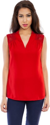 Femninora Casual Sleeveless Solid Women Red Top