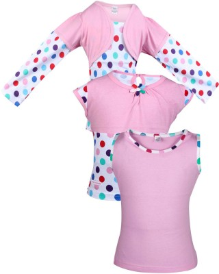 Gkidz Casual Cotton Top(Pink, Pack of 3)