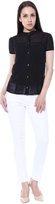 pinaki perryhills Casual Short Sleeve Solid Women's Black Top