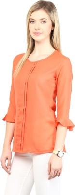 Rare Casual 3/4 Sleeve Solid Women Orange Top at flipkart
