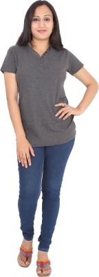 Rasi Silks Casual Short Sleeve Solid Women's Grey Top