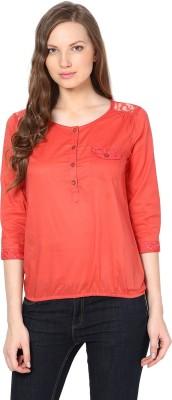 Harpa Casual 3/4 Sleeve Solid Women Orange Top at flipkart