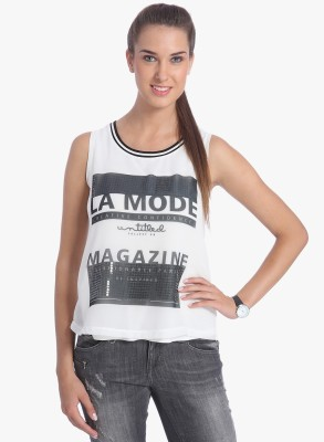 ONLY Casual Sleeveless Printed Women White Top ONLY Women's Tops