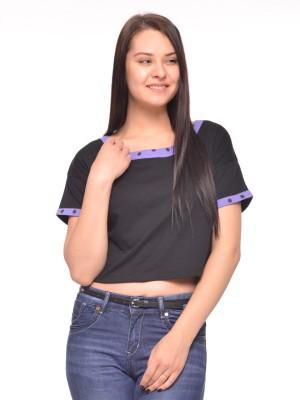 Vvoguish Casual Short Sleeve Solid Women Black Top