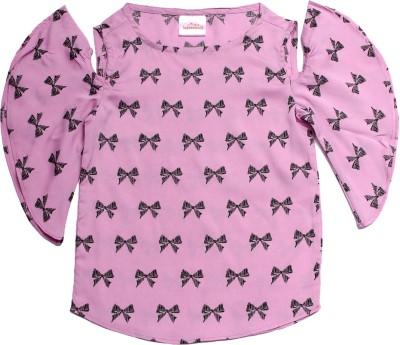 Babeezworld Girls Casual Cotton Chiffon Blend Top(Pink, Pack of 1) at flipkart
