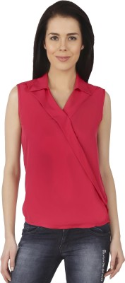 Castor Casual Sleeveless Solid Women Red Top