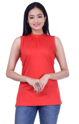 Rene Casual Sleeveless Solid Women Red Top