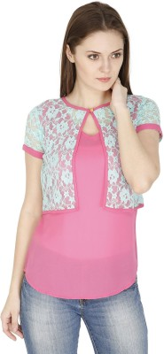 Pinaki Casual Short Sleeve Solid Women's Pink Top