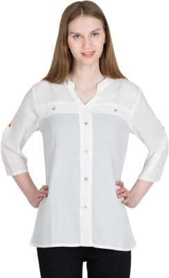 Global Elle Casual 3/4th Sleeve Solid Women's White Top