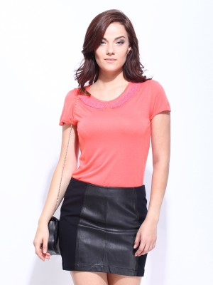 D Muse by DressBerry Casual Short Sleeve Solid Women Pink Top at flipkart