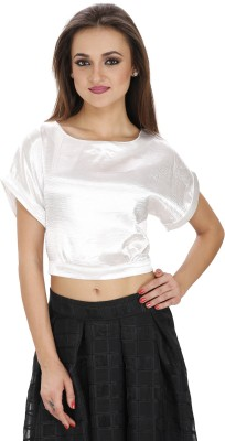 Svt Ada Collections Party Bell Sleeve Solid Women White Top