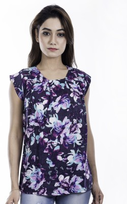 Amadore Casual Cap Sleeve Floral Print Women Multicolor Top
