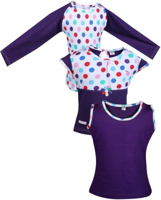 Gkidz Casual Cotton Top(Purple, Pack of 3)