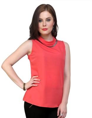 Pannkh Casual Sleeveless Solid Women Orange Top at flipkart