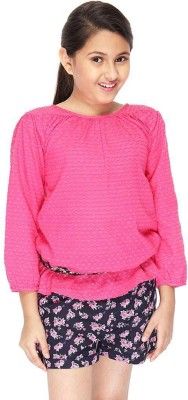 Citypret Girls Casual Cotton Top(Pink, Pack of 1)