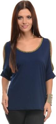 Mayra Casual Short Sleeve Solid Women Dark Blue Top at flipkart