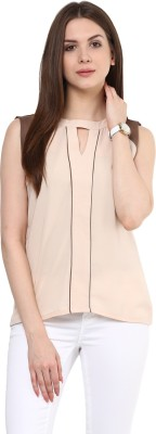 Rare Casual Sleeveless Solid Women Beige Top