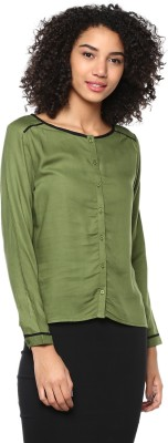 HarpaCasual Full Sleeve Solid Women's Green Top Harpa Tops