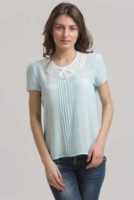 Moda Elementi Casual Short Sleeve Solid Women Blue Top