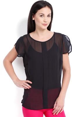 Ten on Ten Casual Short Sleeve Solid Women Black Top