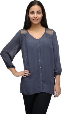 Tunic Nation Casual 3/4th Sleeve Solid Women's Grey Top