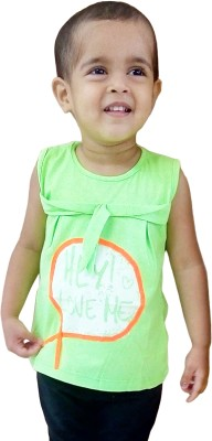 Instyle Girls Casual Cotton Top(Green, Pack of 1)