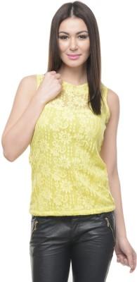 Mayra Casual Sleeveless Self Design Women Yellow Top at flipkart