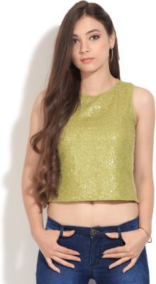 Vero Moda Casual Sleeveless Solid Women's Green Top