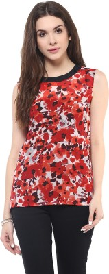 PANNKH Casual Sleeveless Printed Women Red Top PANNKH Women's Tops