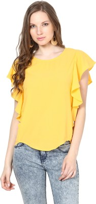 Harpa Casual Short Sleeve Solid Women Yellow Top at flipkart