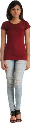 Heritage Tycoon Casual Short Sleeve Printed Women's Maroon Top
