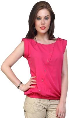Pannkh Casual Cap Sleeve Solid Women Pink Top at flipkart