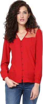 Harpa Casual Full Sleeve Solid Women Red Top at flipkart