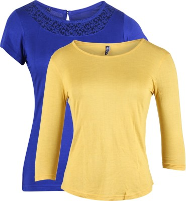 Vvoguish Casual 3/4 Sleeve, Short Sleeve Solid Women Yellow, Blue Top