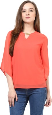 Rare Casual Short Sleeve Solid Women Pink Top