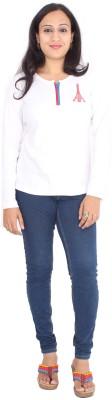 Rasi Silks Casual Full Sleeve Solid Women's White Top