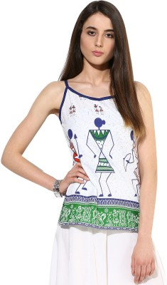 Jaipur Kurti Casual Sleeveless Graphic Print Women White Top