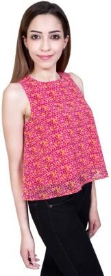 Urban Religion Casual Sleeveless Self Design Women's Pink Top