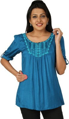 Karishma Casual Roll-up Sleeve Solid Women Blue Top