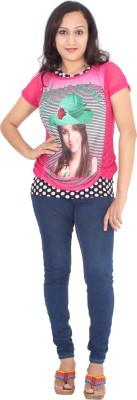 Rasi Silks Casual Short Sleeve Solid Women's Pink Top